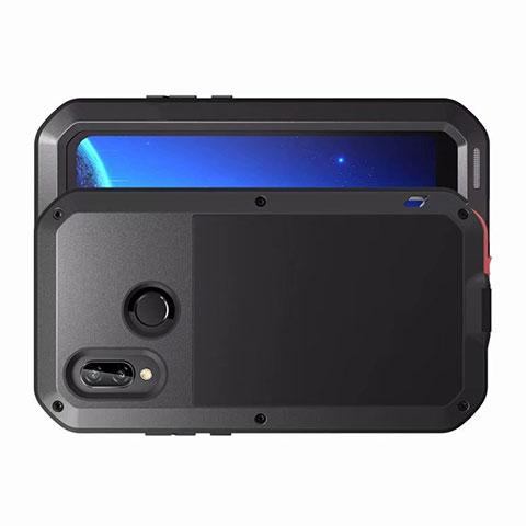 Huawei Nova 3e用ケース 高級感 手触り良い アルミメタル 製の金属製 バンパー 鏡面 カバー ファーウェイ ブラック