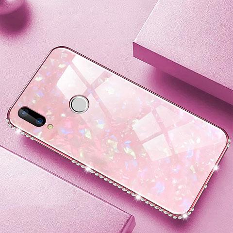 Huawei Nova 3e用ハイブリットバンパーケース プラスチック 鏡面 カバー M01 ファーウェイ ピンク