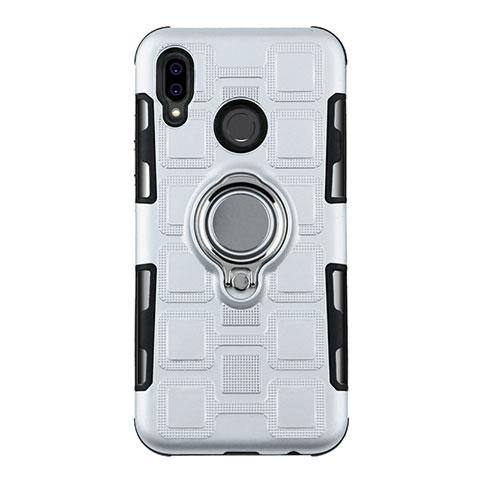 Huawei Nova 3e用ハイブリットバンパーケース プラスチック アンド指輪 兼シリコーン カバー S01 ファーウェイ ホワイト