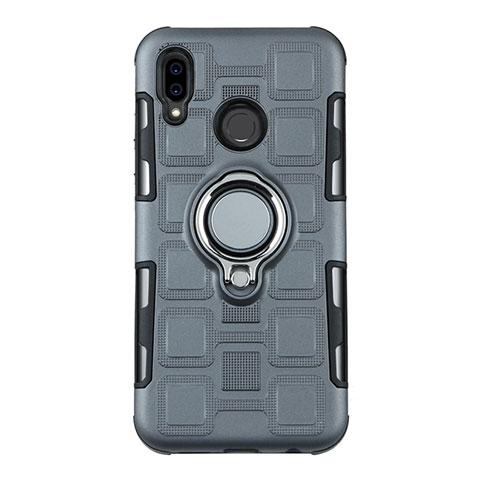 Huawei Nova 3e用ハイブリットバンパーケース プラスチック アンド指輪 兼シリコーン カバー S01 ファーウェイ グレー