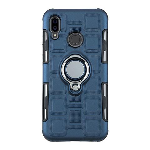 Huawei Nova 3e用ハイブリットバンパーケース プラスチック アンド指輪 兼シリコーン カバー S01 ファーウェイ シアン