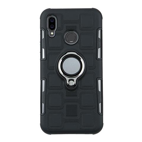 Huawei Nova 3e用ハイブリットバンパーケース プラスチック アンド指輪 兼シリコーン カバー S01 ファーウェイ ブラック