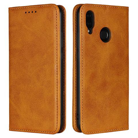 Huawei Nova 3e用手帳型 レザーケース スタンド カバー L06 ファーウェイ オレンジ