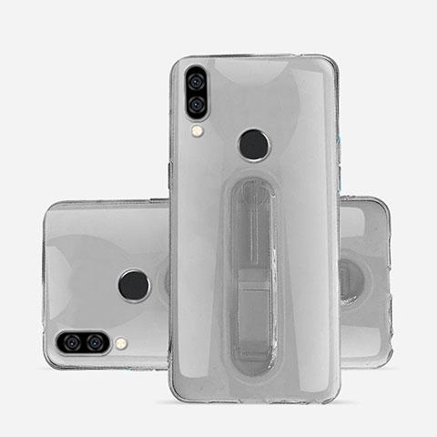 Huawei Nova 3e用極薄ソフトケース シリコンケース 耐衝撃 全面保護 クリア透明 スタンド S01 ファーウェイ グレー