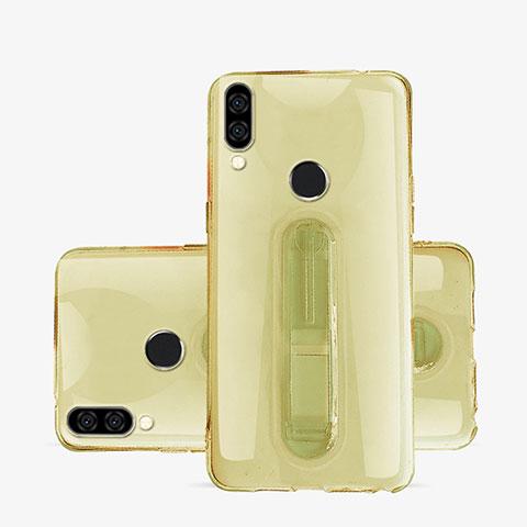 Huawei Nova 3e用極薄ソフトケース シリコンケース 耐衝撃 全面保護 クリア透明 スタンド S01 ファーウェイ ゴールド