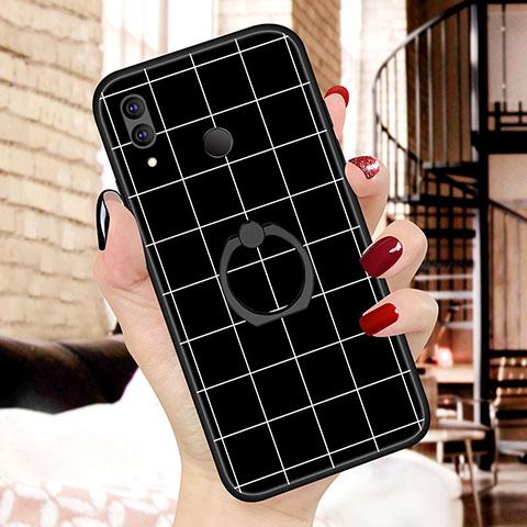Huawei Nova 3e用シリコンケース ソフトタッチラバー バタフライ パターン カバー S02 ファーウェイ ブラック