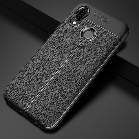 Huawei Nova 3e用シリコンケース ソフトタッチラバー レザー柄 S02 ファーウェイ ブラック