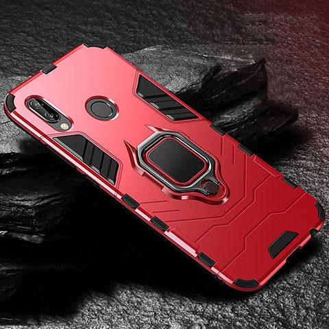 Huawei Nova 3e用ハイブリットバンパーケース スタンド プラスチック 兼シリコーン カバー A03 ファーウェイ レッド