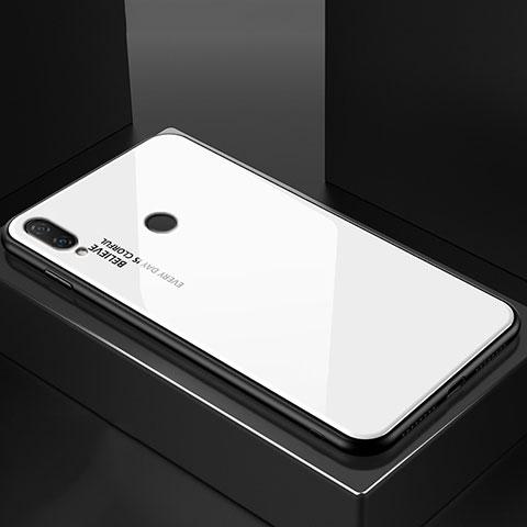 Huawei Nova 3e用ハイブリットバンパーケース プラスチック 鏡面 虹 グラデーション 勾配色 カバー ファーウェイ ホワイト