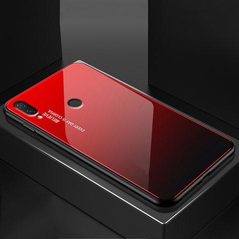 Huawei Nova 3e用ハイブリットバンパーケース プラスチック 鏡面 虹 グラデーション 勾配色 カバー ファーウェイ レッド