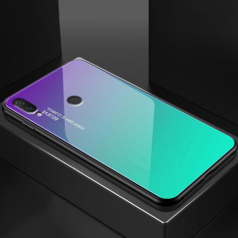 Huawei Nova 3e用ハイブリットバンパーケース プラスチック 鏡面 虹 グラデーション 勾配色 カバー ファーウェイ グリーン