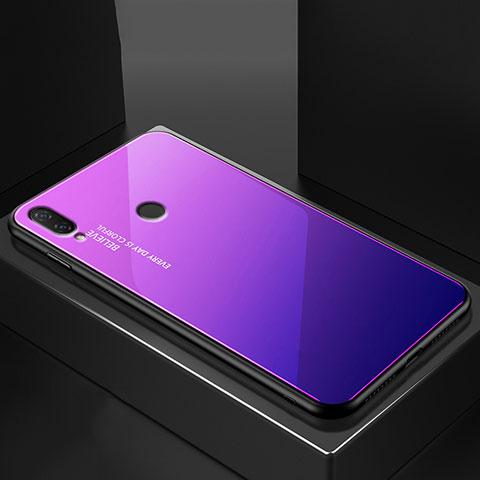 Huawei Nova 3e用ハイブリットバンパーケース プラスチック 鏡面 虹 グラデーション 勾配色 カバー ファーウェイ ネイビー