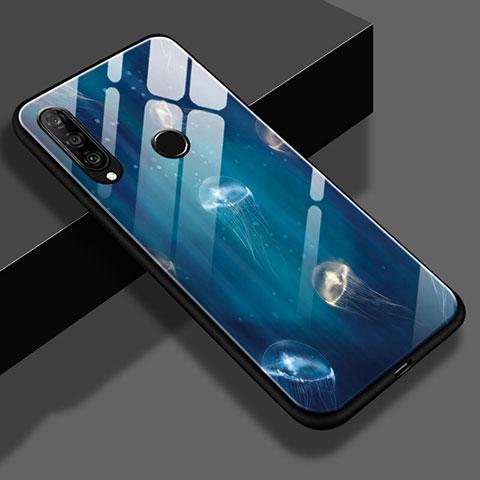 Huawei Nova 4e用ハイブリットバンパーケース プラスチック パターン 鏡面 S01 ファーウェイ ネイビー