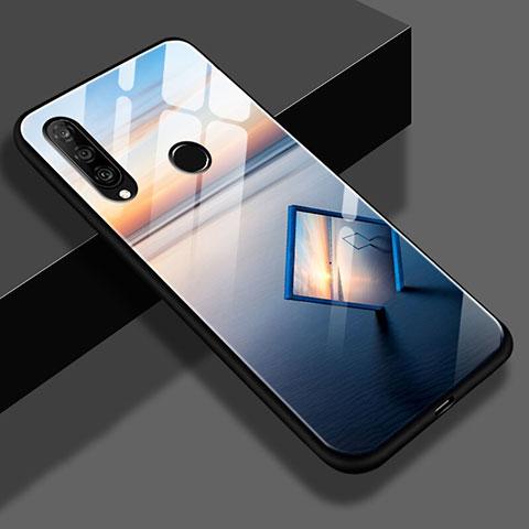 Huawei Nova 4e用ハイブリットバンパーケース プラスチック パターン 鏡面 S02 ファーウェイ ネイビー