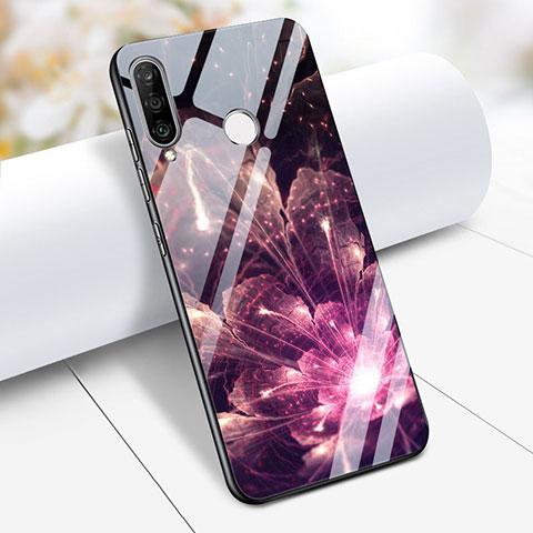 Huawei Nova 4e用ハイブリットバンパーケース プラスチック 鏡面 花 ファーウェイ パープル