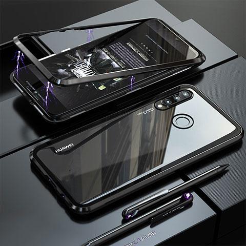 Huawei Nova 4e用ケース 高級感 手触り良い アルミメタル 製の金属製 バンパー 鏡面 カバー ファーウェイ ブラック