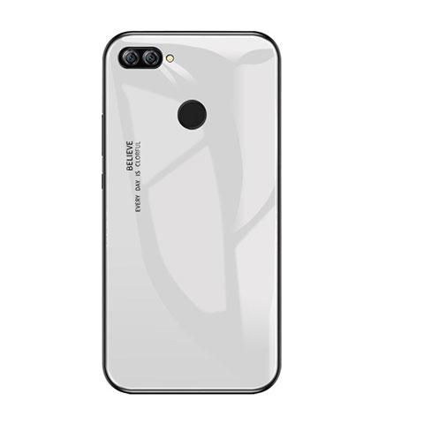 Huawei P Smart用ハイブリットバンパーケース プラスチック 鏡面 虹 グラデーション 勾配色 カバー ファーウェイ ホワイト