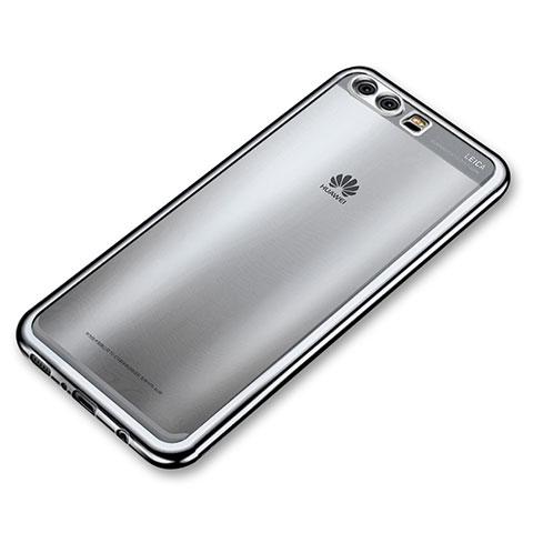 Huawei P10 Plus用極薄ソフトケース シリコンケース 耐衝撃 全面保護 クリア透明 H03 ファーウェイ シルバー
