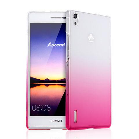 Huawei P7 Dual SIM用ハードケース グラデーション 勾配色 クリア透明 ファーウェイ ピンク