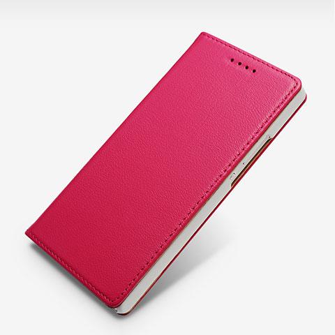 Huawei P7 Dual SIM用手帳型 レザーケース スタンド L02 ファーウェイ ローズレッド