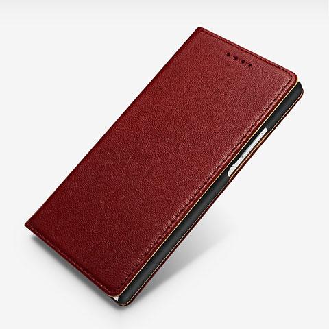 Huawei P7 Dual SIM用手帳型 レザーケース スタンド L02 ファーウェイ レッド