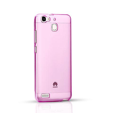Huawei P8 Lite Smart用極薄ソフトケース シリコンケース 耐衝撃 全面保護 クリア透明 ファーウェイ ピンク
