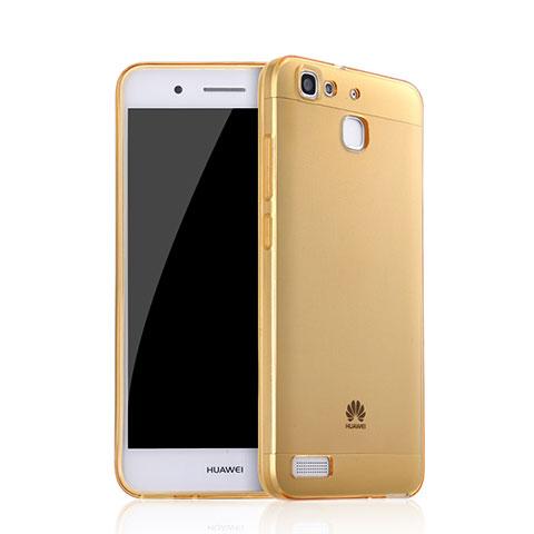Huawei P8 Lite Smart用極薄ソフトケース シリコンケース 耐衝撃 全面保護 クリア透明 ファーウェイ ゴールド