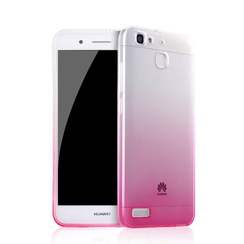 Huawei P8 Lite Smart用極薄ソフトケース グラデーション 勾配色 クリア透明 Q01 ファーウェイ ピンク