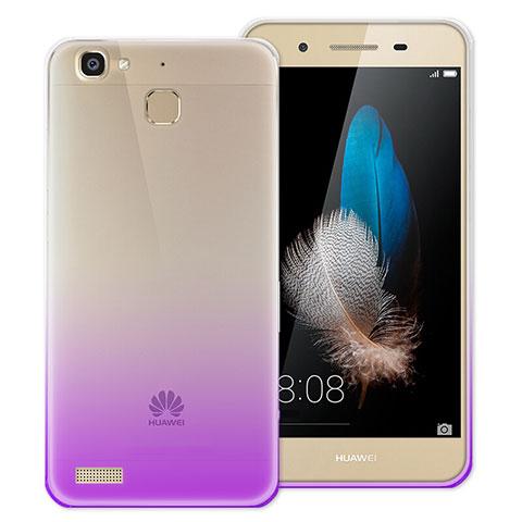 Huawei P8 Lite Smart用極薄ソフトケース グラデーション 勾配色 クリア透明 ファーウェイ パープル