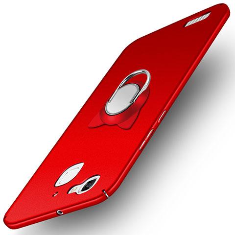 Huawei P8 Lite Smart用ハードケース プラスチック 質感もマット アンド指輪 ファーウェイ レッド