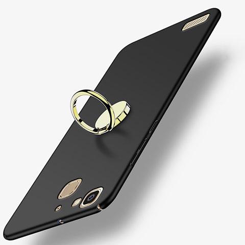 Huawei P8 Lite Smart用ハードケース プラスチック 質感もマット アンド指輪 A02 ファーウェイ ブラック