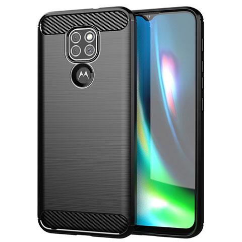 Motorola Moto G9用シリコンケース ソフトタッチラバー ライン カバー S01 モトローラ ブラック
