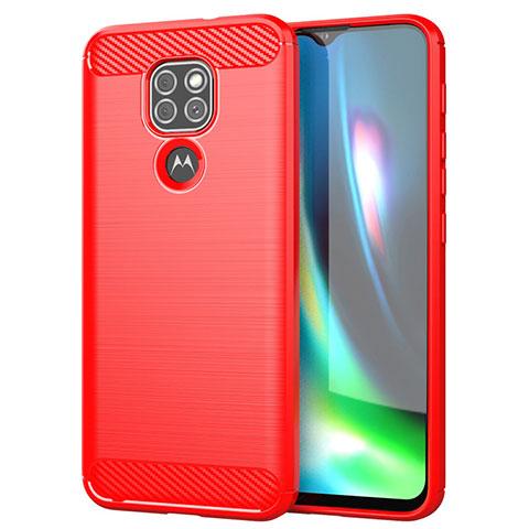 Motorola Moto G9 Play用シリコンケース ソフトタッチラバー ライン カバー S01 モトローラ レッド