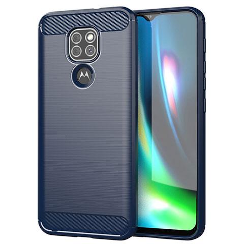 Motorola Moto G9 Play用シリコンケース ソフトタッチラバー ライン カバー S01 モトローラ ネイビー