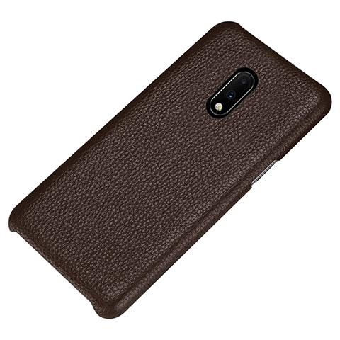 OnePlus 7用ケース 高級感 手触り良いレザー柄 S01 OnePlus ブラウン