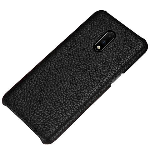 OnePlus 7用ケース 高級感 手触り良いレザー柄 S01 OnePlus ブラック