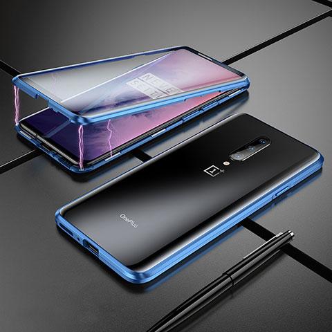 OnePlus 7 Pro用ケース 高級感 手触り良い アルミメタル 製の金属製 バンパー 鏡面 カバー OnePlus ネイビー