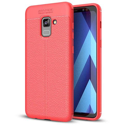 Samsung Galaxy A5 (2018) A530F用シリコンケース ソフトタッチラバー レザー柄 サムスン レッド