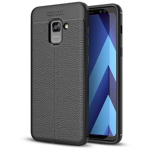 Samsung Galaxy A5 (2018) A530F用シリコンケース ソフトタッチラバー レザー柄 サムスン ブラック
