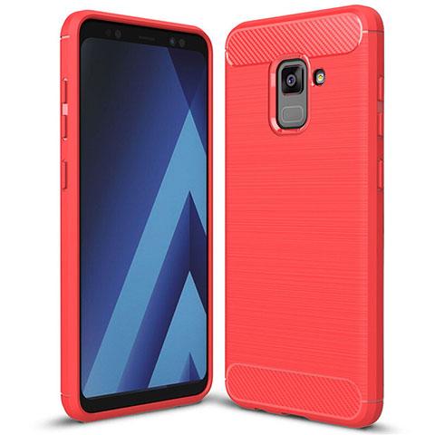 Samsung Galaxy A5 (2018) A530F用シリコンケース ソフトタッチラバー ツイル カバー サムスン レッド