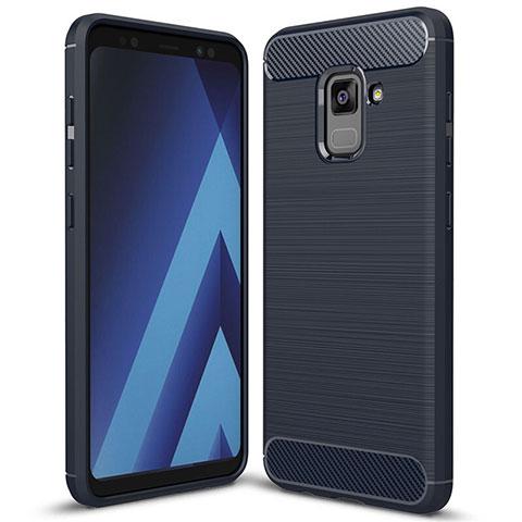 Samsung Galaxy A5 (2018) A530F用シリコンケース ソフトタッチラバー ツイル カバー サムスン ネイビー