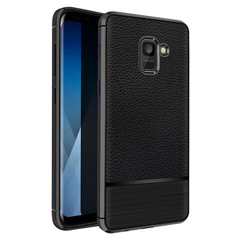 Samsung Galaxy A5 (2018) A530F用シリコンケース ソフトタッチラバー レザー柄 Q01 サムスン ブラック