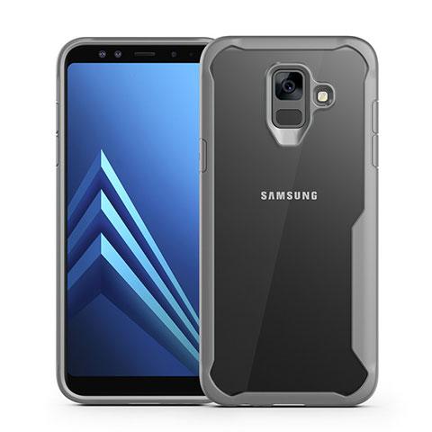 Samsung Galaxy A6 (2018)用ハイブリットバンパーケース クリア透明 プラスチック 鏡面 カバー サムスン グレー
