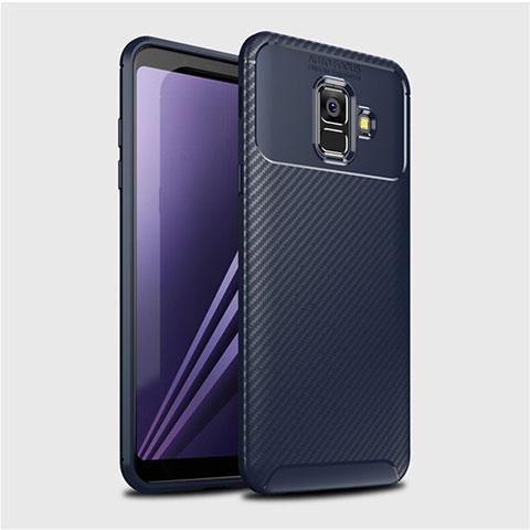 Samsung Galaxy A6 (2018) Dual SIM用シリコンケース ソフトタッチラバー ツイル カバー サムスン ネイビー