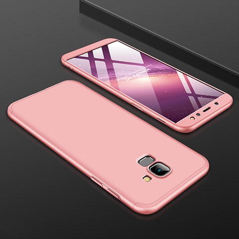 Samsung Galaxy A6 (2018) Dual SIM用ハードケース プラスチック 質感もマット 前面と背面 360度 フルカバー サムスン ローズゴールド