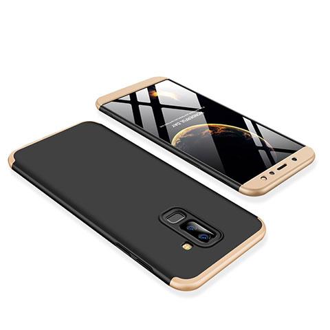 Samsung Galaxy A6 Plus用ハードケース プラスチック 質感もマット 前面と背面 360度 フルカバー サムスン ゴールド・ブラック