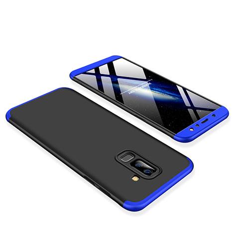 Samsung Galaxy A6 Plus用ハードケース プラスチック 質感もマット 前面と背面 360度 フルカバー サムスン ネイビー・ブラック