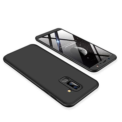 Samsung Galaxy A6 Plus用ハードケース プラスチック 質感もマット 前面と背面 360度 フルカバー サムスン ブラック