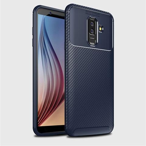 Samsung Galaxy A6 Plus用シリコンケース ソフトタッチラバー ツイル カバー サムスン ネイビー