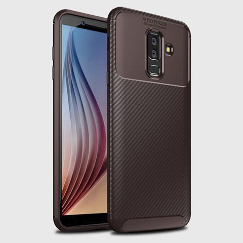 Samsung Galaxy A6 Plus用シリコンケース ソフトタッチラバー ツイル カバー サムスン ブラウン